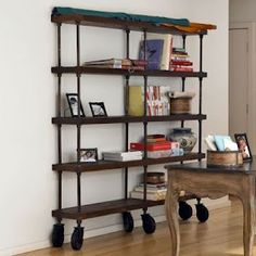 French Industrial Bookshelf   Distressed Wood, Pipe, Wheels. The Mister  Could Totally Make