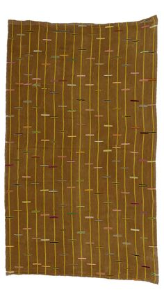 Africa | Kente cloth from Ghana | Cotton; with yellow stripes and small bars of colour on a brown ground