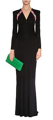Black/Pink-MultiDrapedSilkJerseyGownbyLEONARD   Luxury fashion online   STYLEBOP.com