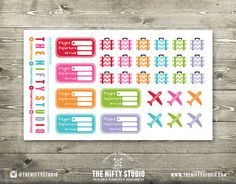 Travel Vacation  30 Planner Stickers  1 Sheet  by TheNiftyStudio