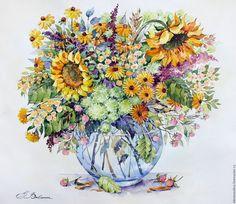 Купить Букет с подсолнухами - желтый, акварель, букет, цветы, картина, картина в подарок, подсолнухи, оранжевый