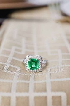 St. Patrick's Day wedding ideas #emerald #green [JJ Horton Photography for J.Leigh Events] // emerald + diamond ring