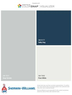 Gray screen with salty dog Kitchen/dining room / grey screen for living room Exterior Paint Colors For House, Interior Paint Colors, Paint Colors For Home, Exterior Colors, Exterior Paint Schemes, Exterior Design, Room Colors, Wall Colors, House Paint Color Combination