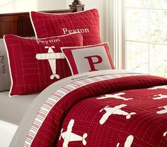 Pottery Barn Kids Lakehouse Airplane Quilted Bedding