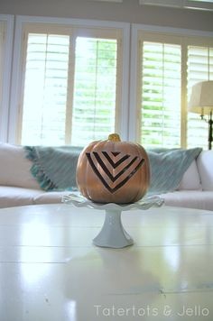 DIY Carved Gold Geometric Pumpkins -- Tatertots and Jello #DIY #Fall #Halloween