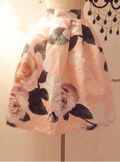 Vinatge Floral Print High Waist A-Line Design Women's Skirt Vintage Skirts | RoseGal.com Mobile