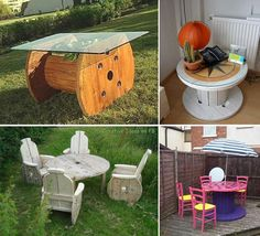 Recycled spool tables (I have one of these! Pallet Crates, Wooden Pallets, Pallet Benches, Pallet Tables, Pallet Bar, Outdoor Pallet, 1001 Pallets, Pallet Sofa, Recycled Furniture
