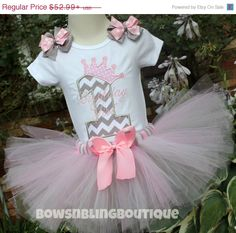 ON SALE First Birthday Outfit Chevron 1st Birthday 2nd 3rd Tutu Embroidered shirt Custom Girl Tutu Pink Gray Chevron Personalized Birthday S on Etsy, $47.69