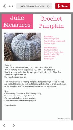 Crochet Pumpkin Crochet Pumpkin Pattern, Halloween Crochet Patterns, Crochet Motifs, Crochet Stitches, Crotchet Patterns, Crochet Fall, Holiday Crochet, Crochet Home, Knit Or Crochet