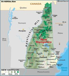 Map of New Hampshire NH