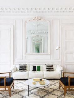 Modern white Paris living room on Thou Swell