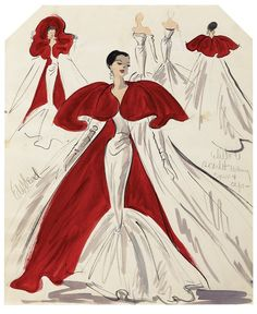 Edith Head vintage Hollywood fashion sketch / scarlet and red evening gown and cape.