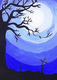 Autumn Art, Winter Art, Winter Painting, Club D'art, Monochromatic Paintings, Classe D'art, Value In Art, 4th Grade Art, School Art Projects