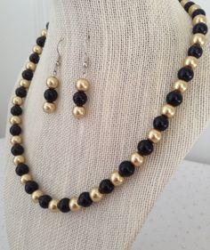 Collar de perlas negro y oro joyas de oro de Dama de honor