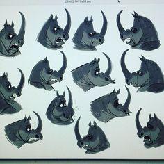 Zootopia rhino expressions! #zootopia #zootopiadisney #sketch #visualdevelopment…