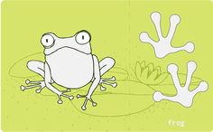 montessori animal foot steps cards frog