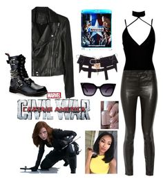 """Black widow"" by tmorris-tm on Polyvore featuring Paige Denim, Boohoo, J Brand, Essie, Demonia, ZooShoo, men's fashion, menswear, contestentry and CaptainAmericaCivilWar"