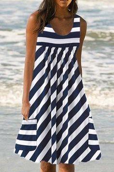 Euone Womans Dress Clearances, Women's Casual O-neckline Mini Dress Stripe Print Pocket Sleeveless Dress Casual Dresses For Women, Clothes For Women, Summer Stripes, Stripes Fashion, Short Sleeve Dresses, Mini Dresses, Teen Dresses, Club Dresses, Boho