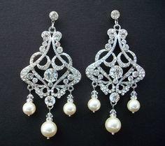 Bridal Earrings,Bridal Rhinestone Earrings, Swarovski Pearls, Bridal Pearl Earrings, Statement Bridal Earrings,Wedding Pearl Earrings, ALEXA on Etsy, $52.00