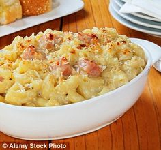 Adding crispy pancetta to mac and cheese along with garlicy croutons takes it to a whole new level
