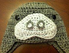 Items similar to Lido the Manatee on Etsy Crochet For Kids, Crochet Baby, Knit Crochet, Crocheted Hats, Knitting Patterns, Crochet Patterns, Hat Patterns, Crochet Animal Hats, Turtle Costumes