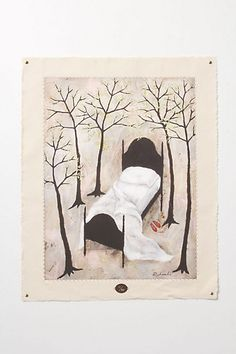 Goodnight Loneliness By Rebecca Rebouche  #anthropologie $500 giclee print stitched to canvas.   So fun in the woodlands bedroom :)