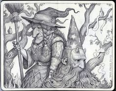 """Brun Croes """"The Witch And The Wizard"""" Graphite Pencil on moleskine Disney Drawings, Cartoon Drawings, Art Drawings, Pencil Drawings, Amazing Drawings, Realistic Drawings, Simple Drawings, Spoke Art, Adult Coloring Pages"""