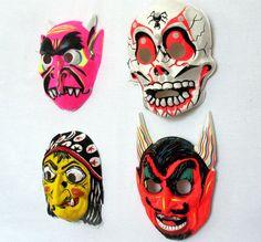Vintage Halloween Masks, Set of 4, Halloween Decor, Wall Hanging, Collegeville, Ben Cooper, Full Face Mask, Photobooth Mask
