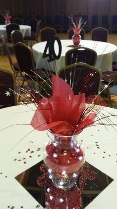 Table decorations at Skyline High School class of 1974 reunion School Reunion Decorations, Graduation Decorations, Party Table Decorations, Decoration Table, Graduation Centerpiece, School Centerpieces, Reunion Centerpieces, Party Centerpieces, Centerpiece Ideas