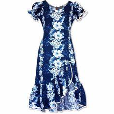 1e5a34e552f Hanalei Blue Makani Hawaiian Muumuu Dress