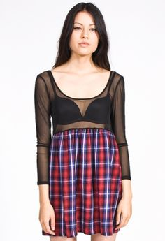 The perfect 90's babydoll dress that even grunge goddess Courtney Love would approve. The Plaid Binger Dress by Shown to Scale features long sleeve mesh top and flannel bottom. Perfect for rocking out to Doll Parts.  $64