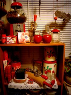 My red collection - can't wait to decorate a kitchen that I own with all my years of thrifting :-)