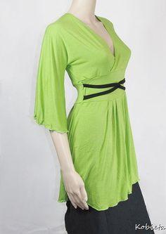 Womens Tunic Top - Empire Waist - Kimono Style Shirt-Bamboo and Beechtree Jersey-Custom Size and Color-XXS thru Large. $47.00, via Etsy.