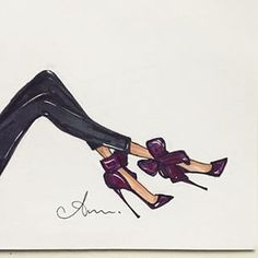 I wear 'em, I draw 'em. // inspired by my Aminah Jillil bow pumps -- Anum Tariq