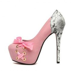 $12.38 Sexy Style Women's Pumps With Lace-Up and Snake Print Design