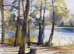 Watrecolor of Misha Kuznetsov - Pins at the Lake