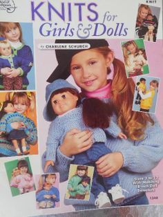 """KNITS FOR GIRLS & DOLLS Knitting Sizes 2-12 with Matching 18"""" Doll Sweaters #AmericanSchoolofNeedlework"""