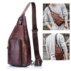 257649371964 Bullcaptain Men Genuine Leather Business Casual Chest Bags Shoulder Crossbody  Bag is worth buying - NewChic Mobile.