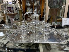 Vendor Displays, Silver Tea Set, Antique Art, Antiques, Home Decor, Antiquities, Antique, Decoration Home, Room Decor