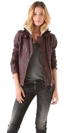 Mackage Leather   Shearling Moto Jacket Burgundy Leather Jacket b234629b5