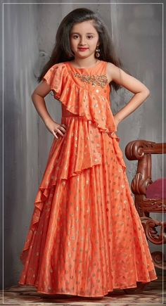 Latest Kids Gown Dress Kids Wear Indian Shine Orange Designer Gowns For Girls – KinderMode Kids Party Wear Dresses, Kids Dress Wear, Baby Girl Party Dresses, Dresses Kids Girl, Kids Wear, Dress Girl, Girls Dresses Sewing, Kids Frocks Design, Baby Frocks Designs