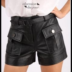 Leather Shorts Sexy Guess by Marciano leather and fabric (rayon and nylon) mini shorts. Tags and extra button included. Guess by Marciano Shorts