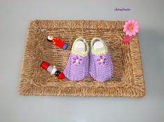 Hand knitted Baby Girl Cotton Summer  loafers  by AniramCreates, £12.99