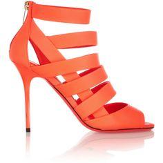 Jimmy Choo Damsen neon matte-leather sandals (4.095 ARS) ❤ liked on Polyvore featuring shoes, sandals, heels, jimmy choo, orange, bright orange, high heel sandals, jimmy choo shoes, neon orange sandals and neon heel sandals