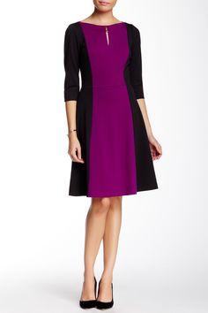 Elbow Length Sleeve Colorblock Ponte Fit & Flare Dress by Tahari on @HauteLook