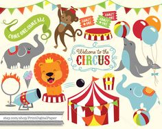 Cute Baby Circus Digital Clip Art Download illutrated graphic clipart seal lion circus tent cannon bunting flags banner elephant balloons by ClipartCarnival on Etsy https://www.etsy.com/listing/217778528/cute-baby-circus-digital-clip-art