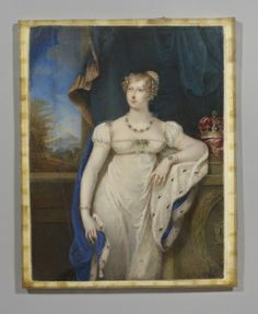 Charlotte Jones, 'Princess Charlotte', 1816. Royal Collection 421470 Wears a white gown, ermine-lined blue robe and a jewellery set consisting of pearls and emeralds(?). Leans against a pedestal with crown beside her. Image copied a year later for a mourning pendant.