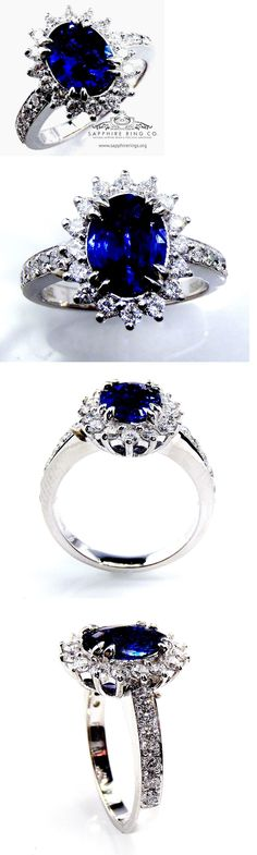 Other Engagement Rings 164308: Certified Platinum 2.17 Tcw Blue Oval Cut Natural Sapphire And Diamond Ring -> BUY IT NOW ONLY: $3759.2 on eBay!