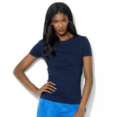 Lauren Ralph Lauren Top, Short-Sleeve Mesh-Stripe Tee ($35) ❤ liked on Polyvore