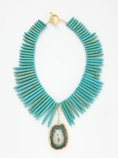Alanna Bess Jewelry  Turquoise Quill & Stalactite Necklace